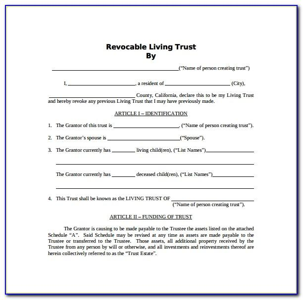 Revocable Trust Template Michigan