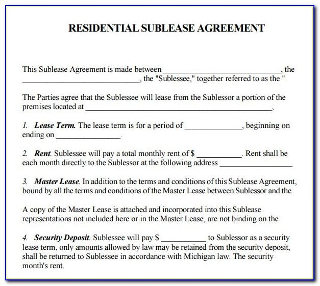 Room Sublet Contract Template