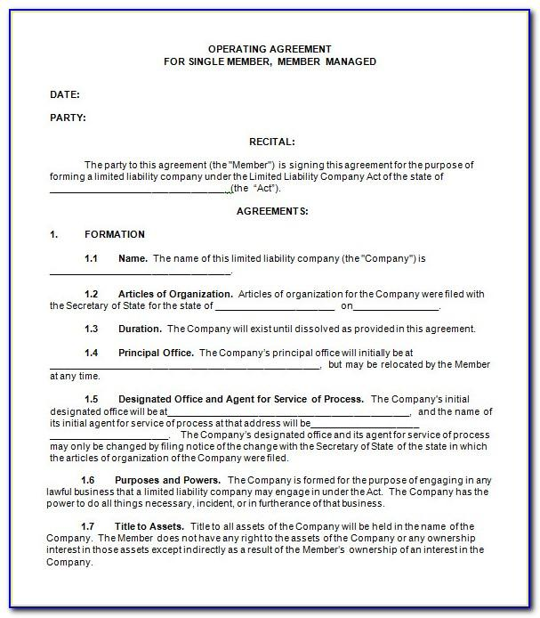 Sample Operating Agreement For Single Member Llc