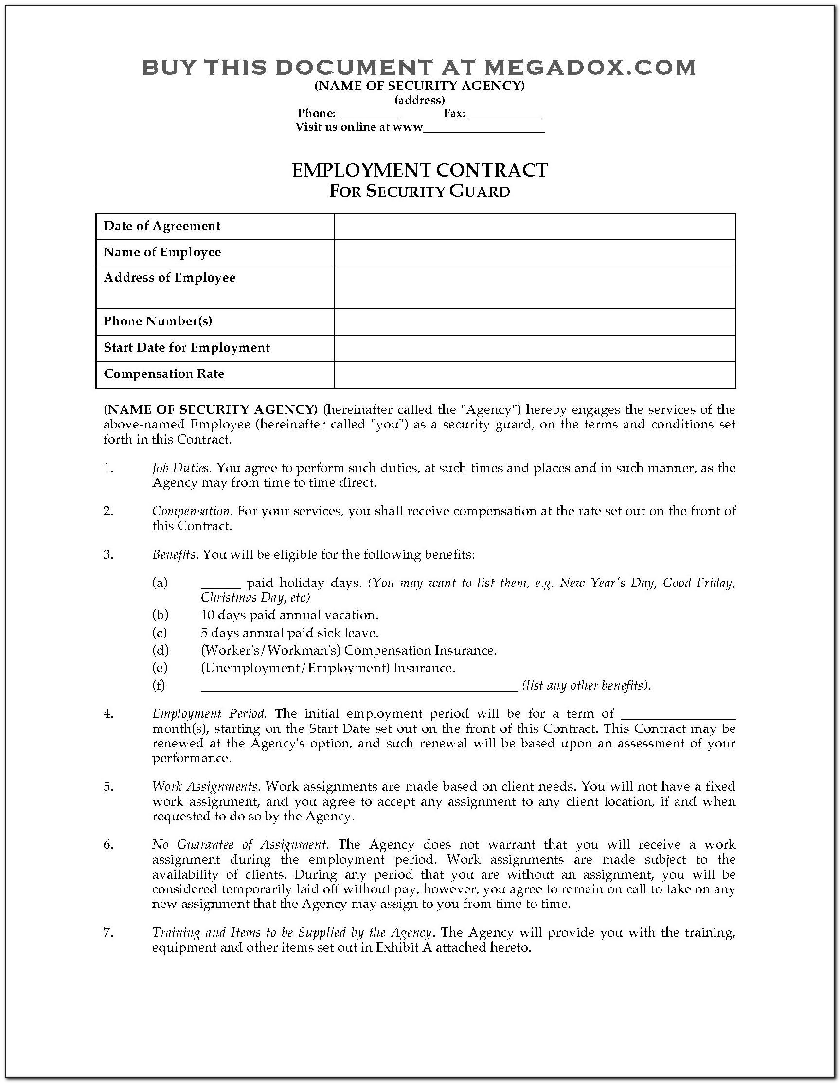 Security Guard Agreement Template