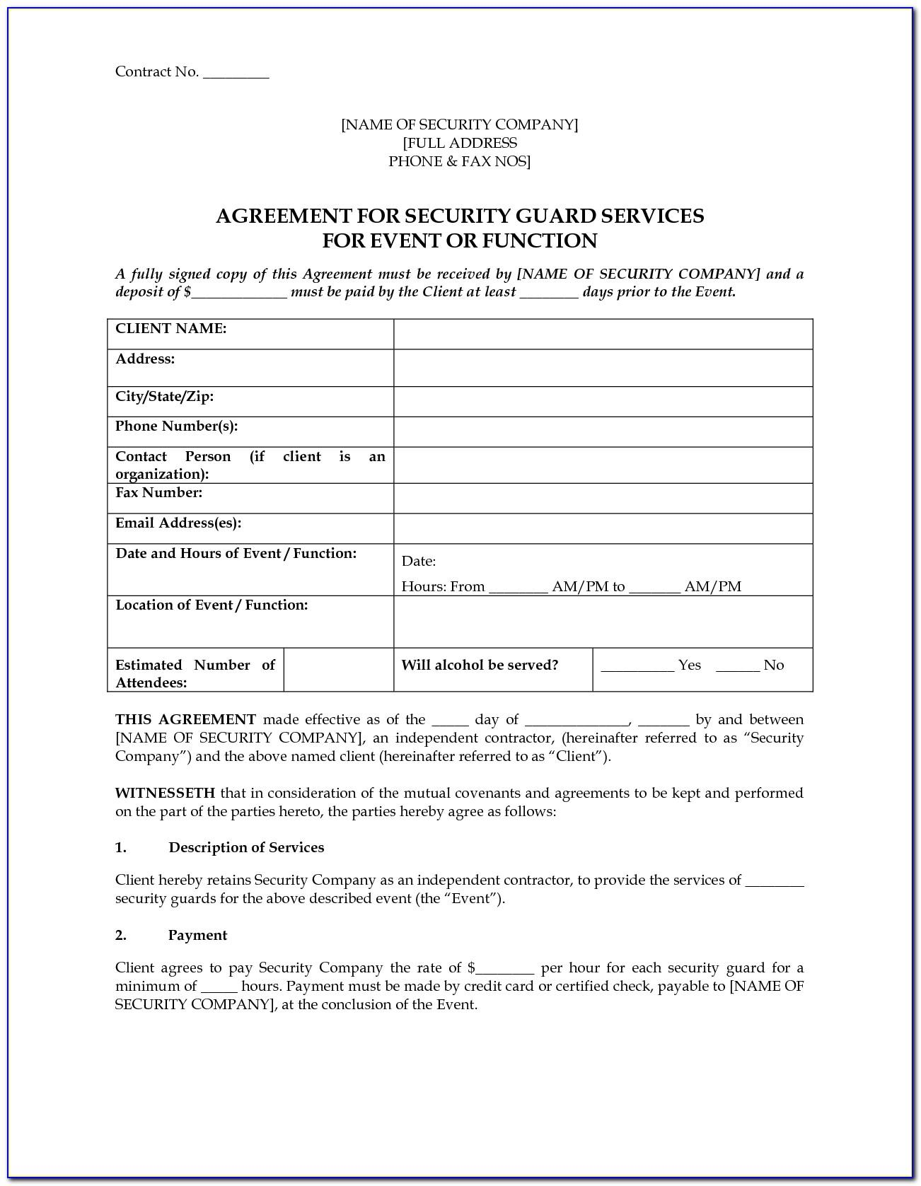 Security Guard Contract Form