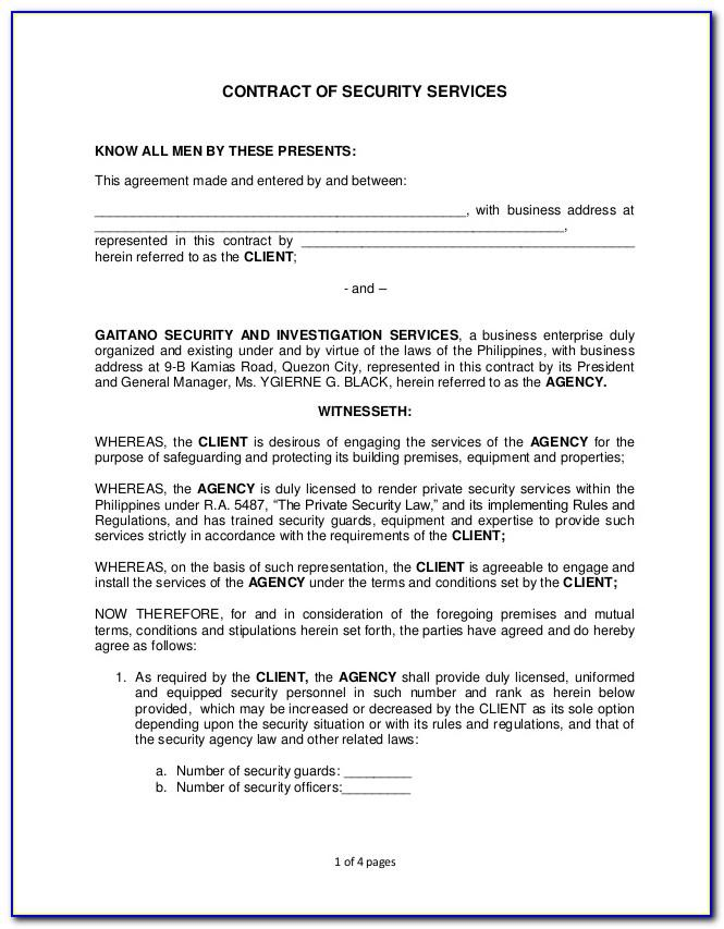Security Guard Contract Format