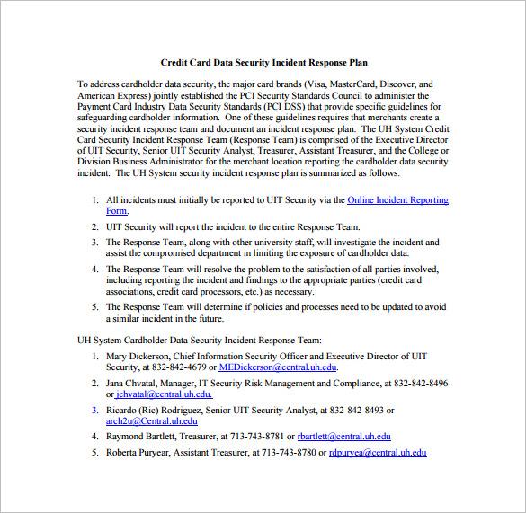 Security Incident Response Plan Sample