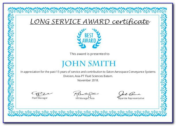 Service Award Certificate Examples