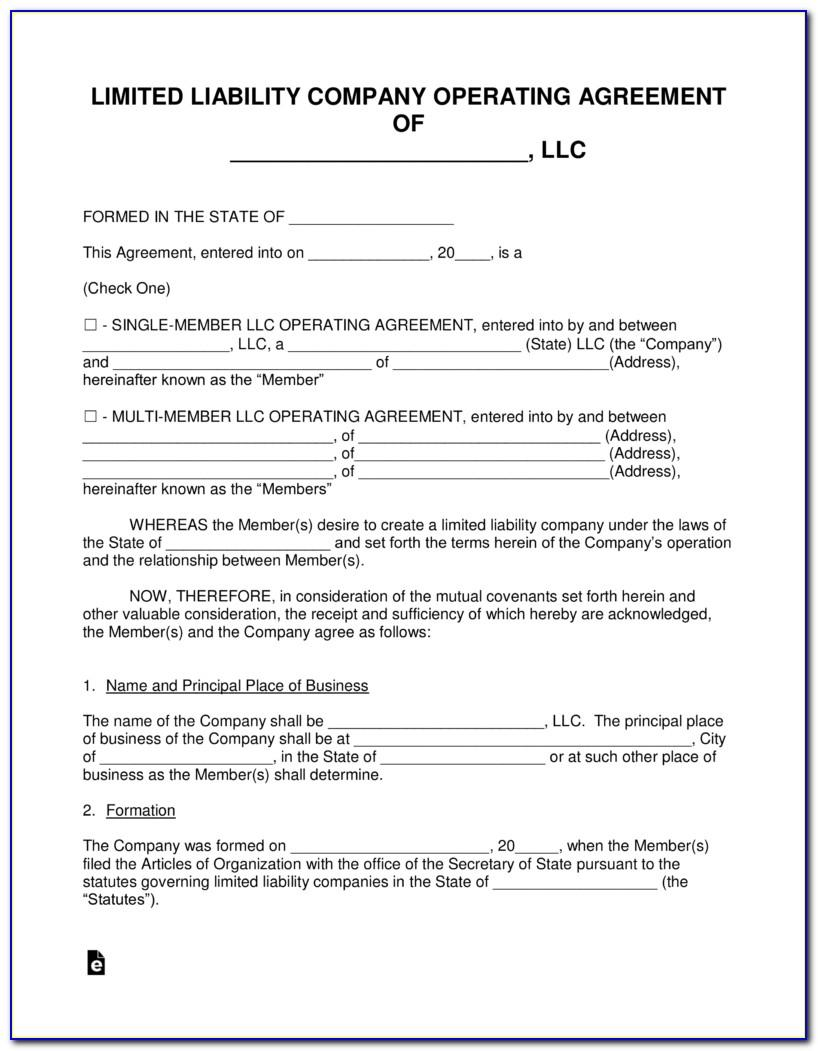 Simple Operating Agreement Template Free