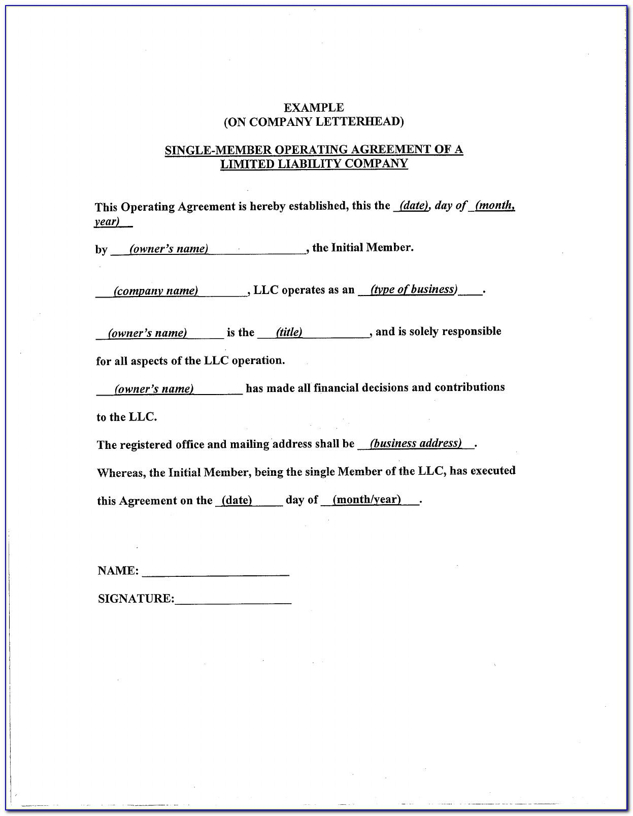 Simple Operating Agreement Template