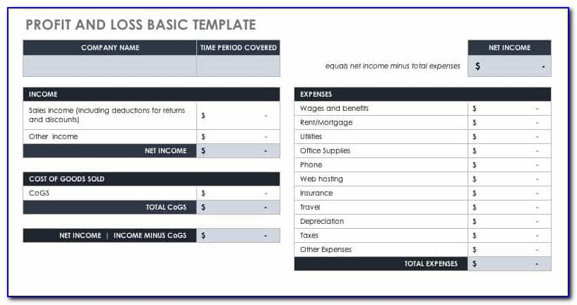 Simple Profit And Loss Statement Template For Small Business