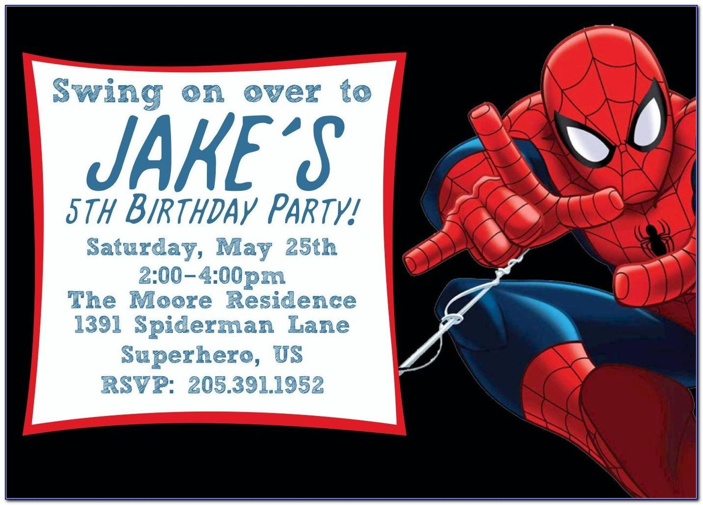 Spiderman Party Invitation Template