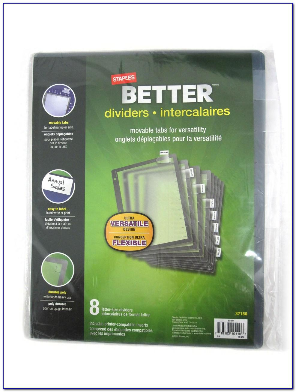 Staples 8 Large Tab Insertable Dividers Template 13516