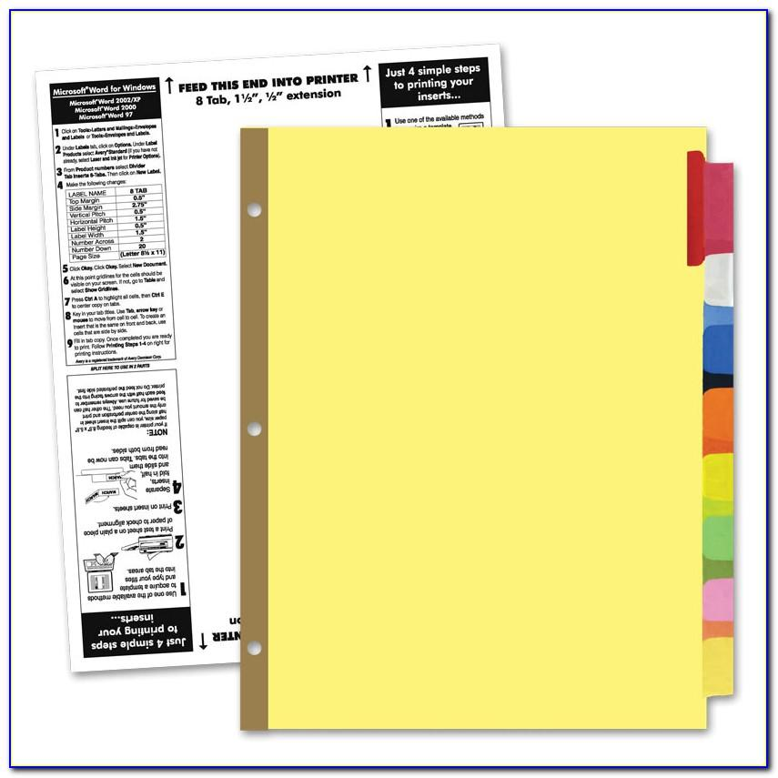 Staples 8 Large Tab Insertable Dividers Template