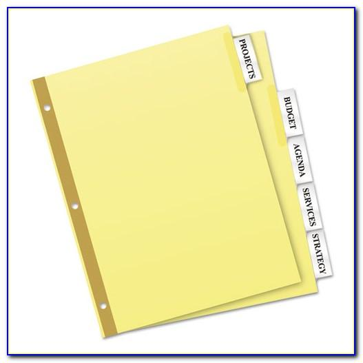 Staples 8 Tab Insertable Dividers Template
