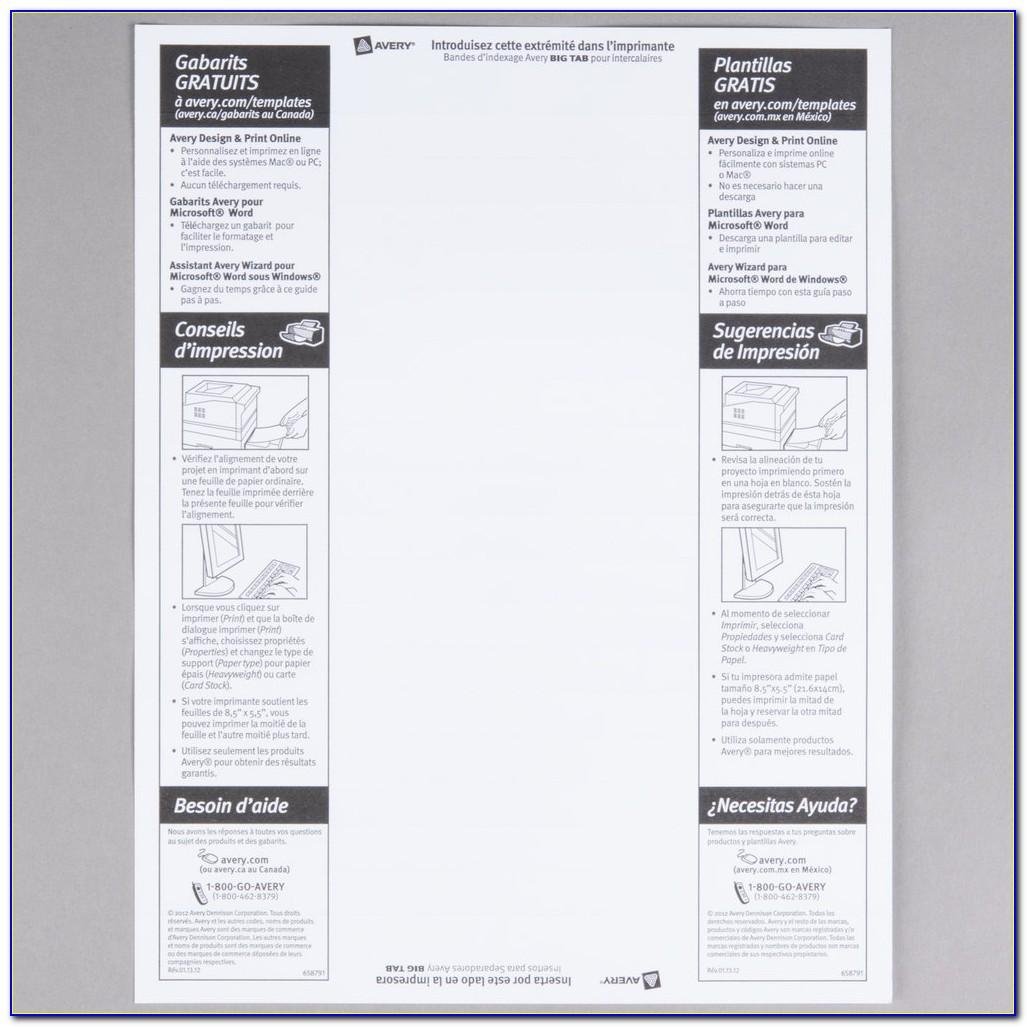 Staples 8 Tab Printable Dividers Template