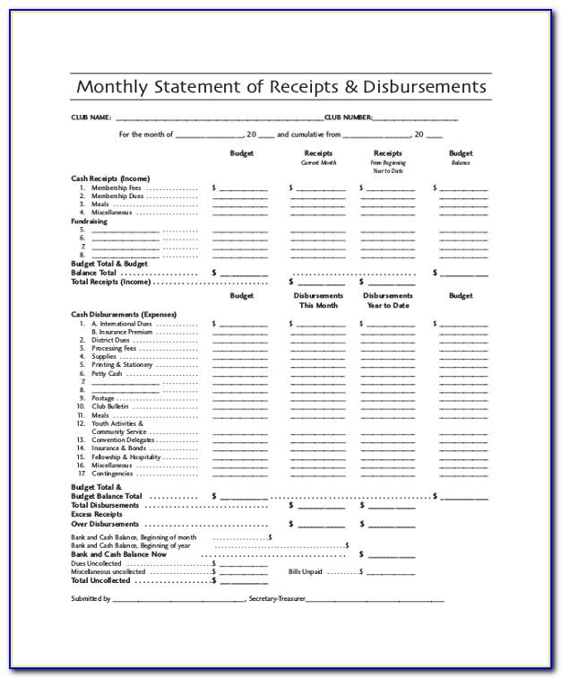 Statement Of Cash Receipts And Disbursements Template