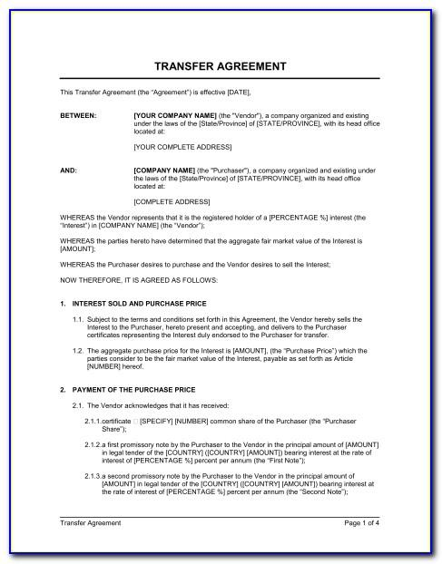 Stock Transfer Agreement S Corp Template