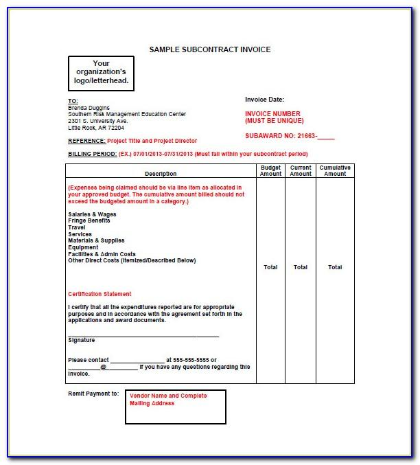 Subcontractor Invoice Template Excel