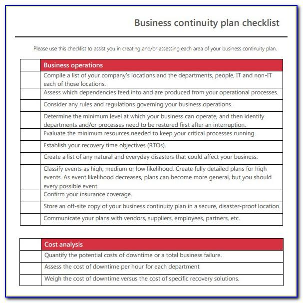Supply Chain Business Continuity Plan Template