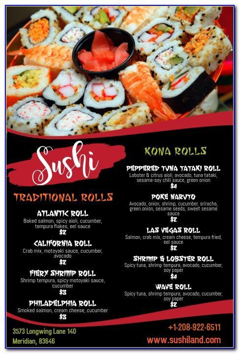 Sushi Menu Template Free Vector