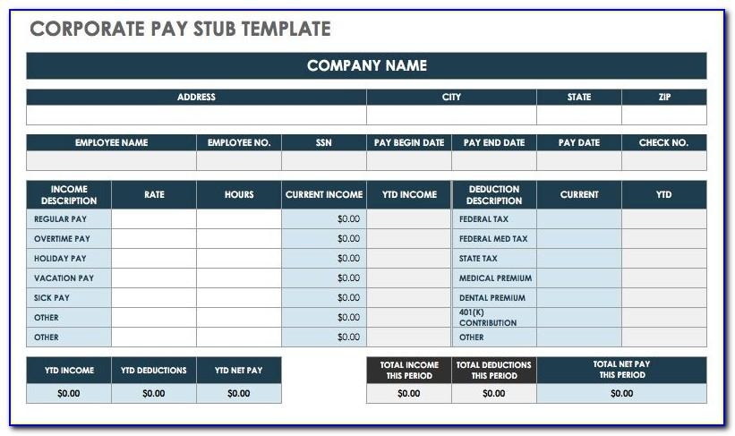 Template Pay Stub Excel