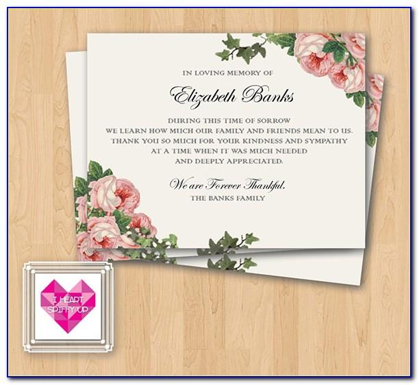 Thank You Notes After Funeral Samples