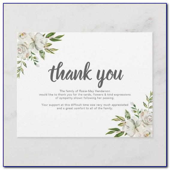 Thank You Notes After Funeral Template