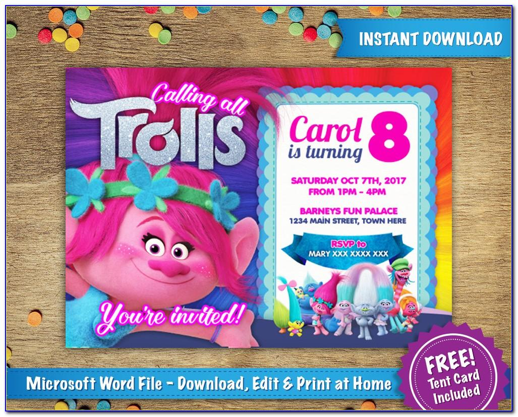 Trolls Invitation Template Free