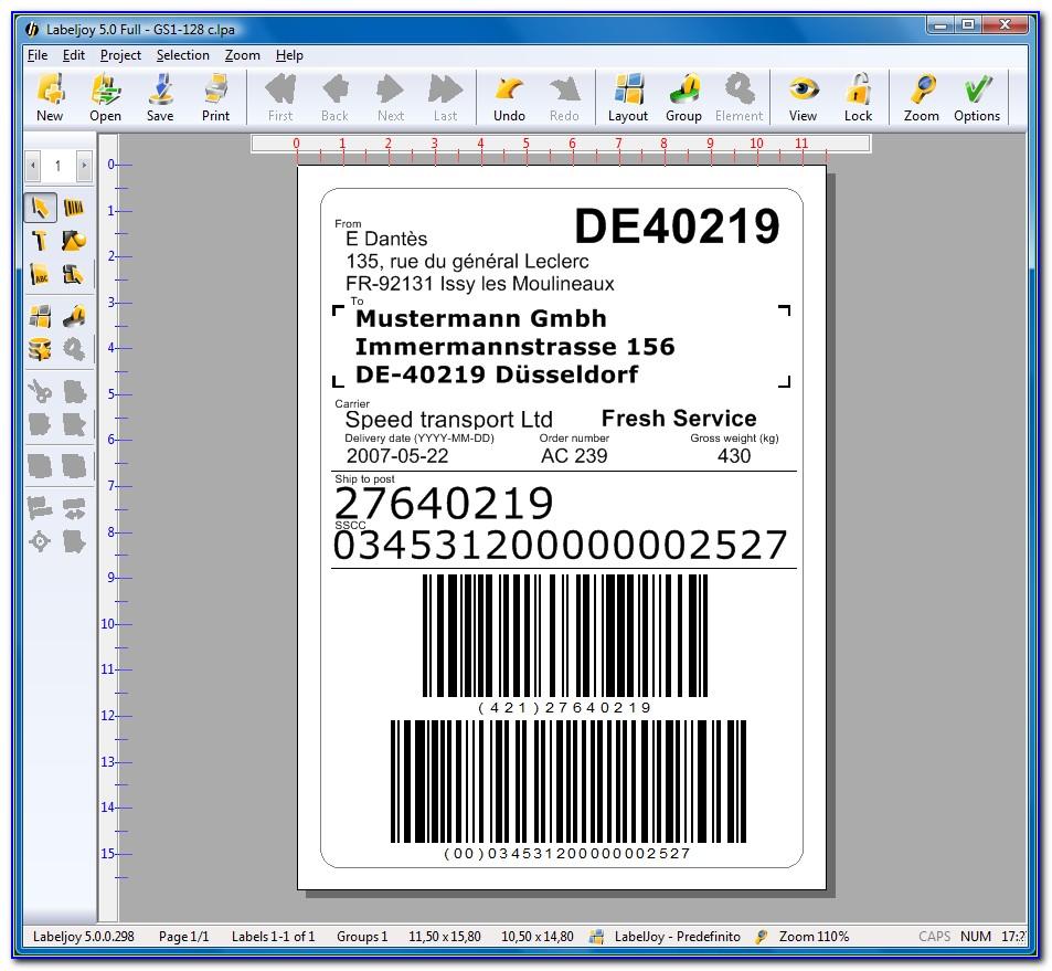 Ucc 128 Label Format
