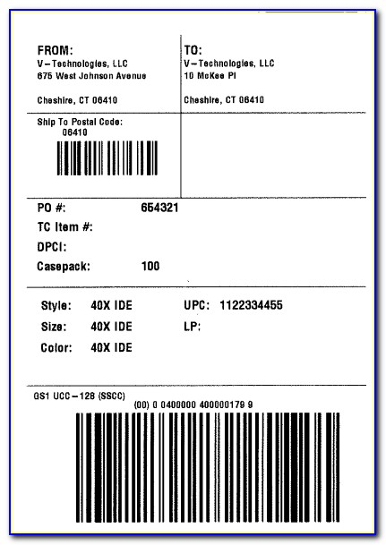 Ucc 128 Shipping Label Format