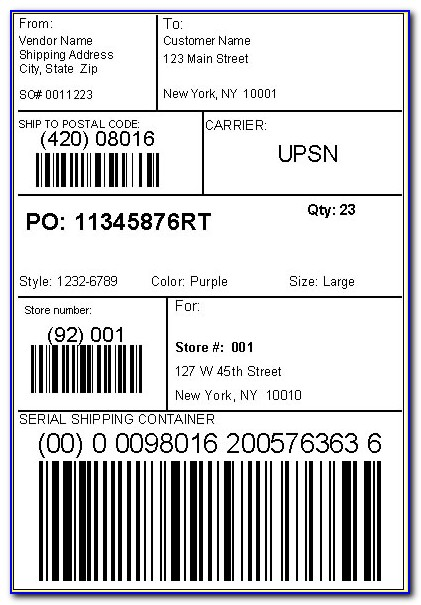 Ucc 128 Shipping Label Template