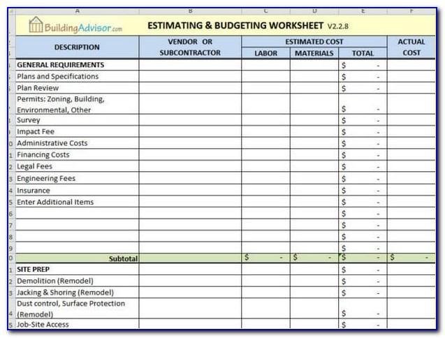 Uda Excel Estimating Templates
