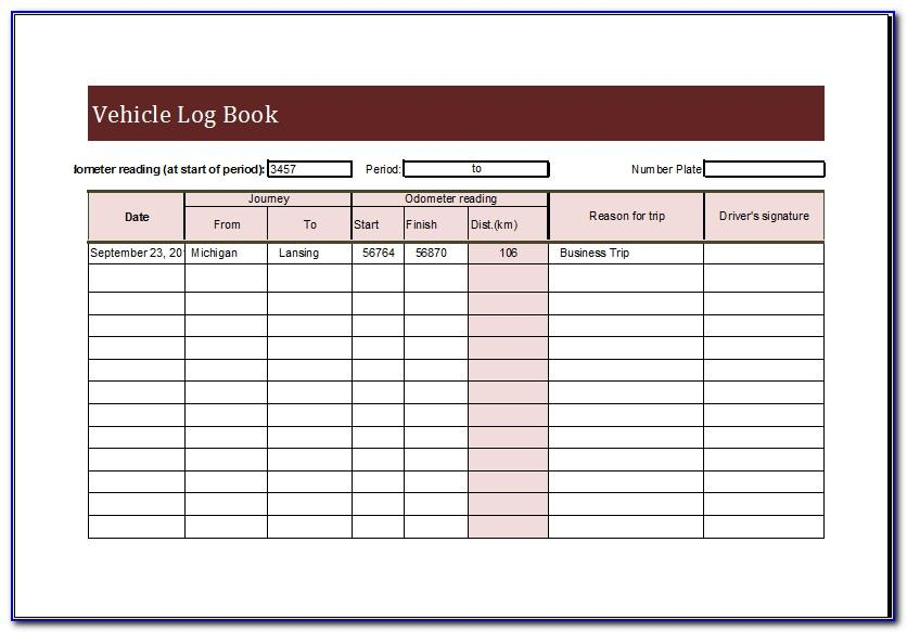 Vehicle Maintenance Log Book Excel Template