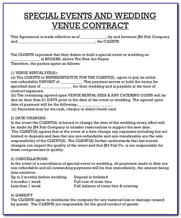 Venue Rental Contract Template Free