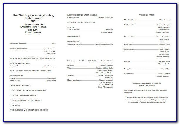 Wedding Bulletins Templates Free