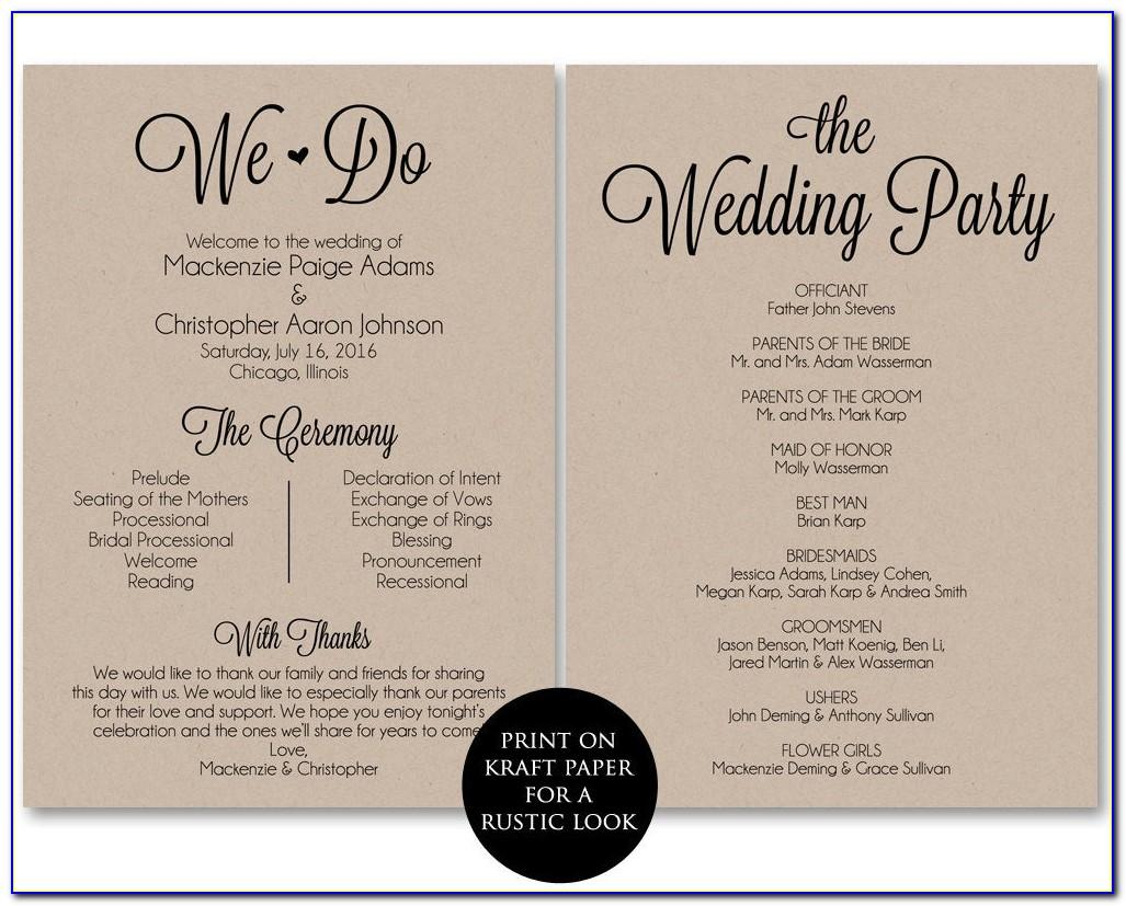 Wedding Ceremony Programs Template Free