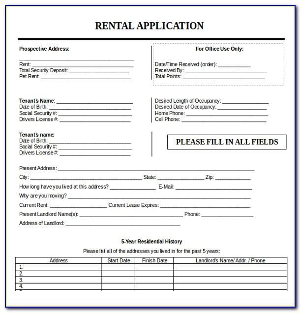 Word Rental Application Template