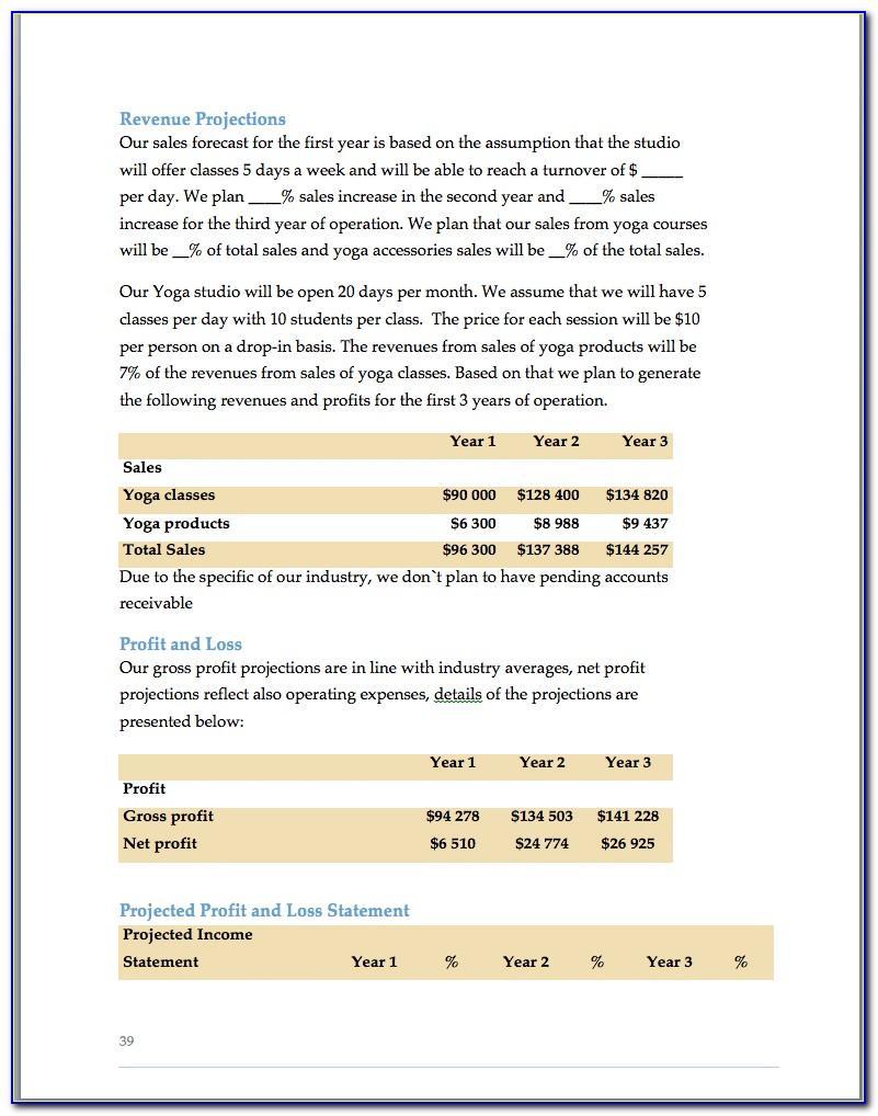 Yoga Studio Business Plan Example