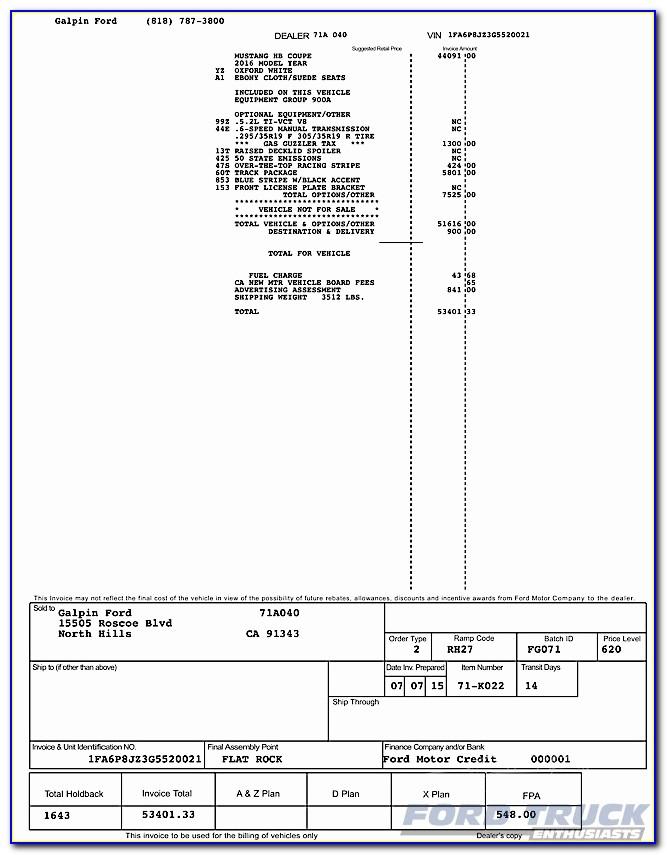 2018 Ford F 150 Dealer Invoice
