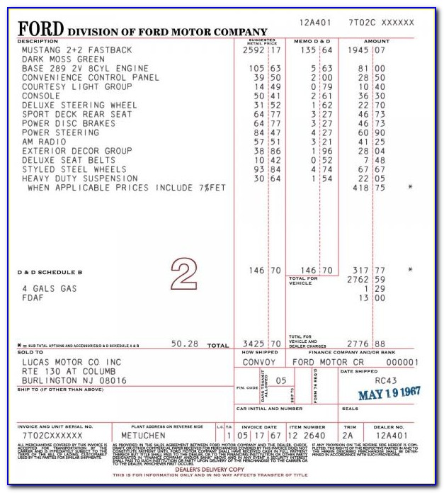 2019 Mustang Gt Invoice Price