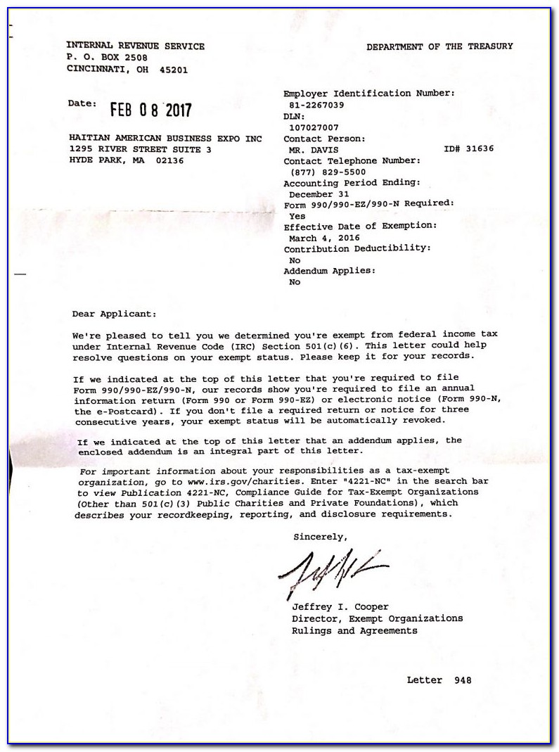 501c3 Determination Letter From The Irs