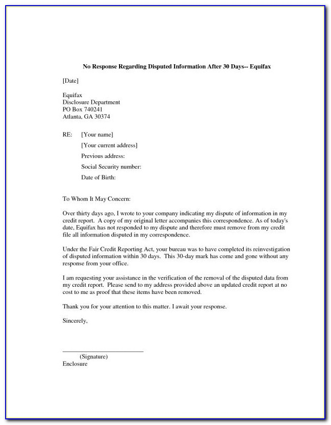 609 Dispute Letter To Credit Bureau Template