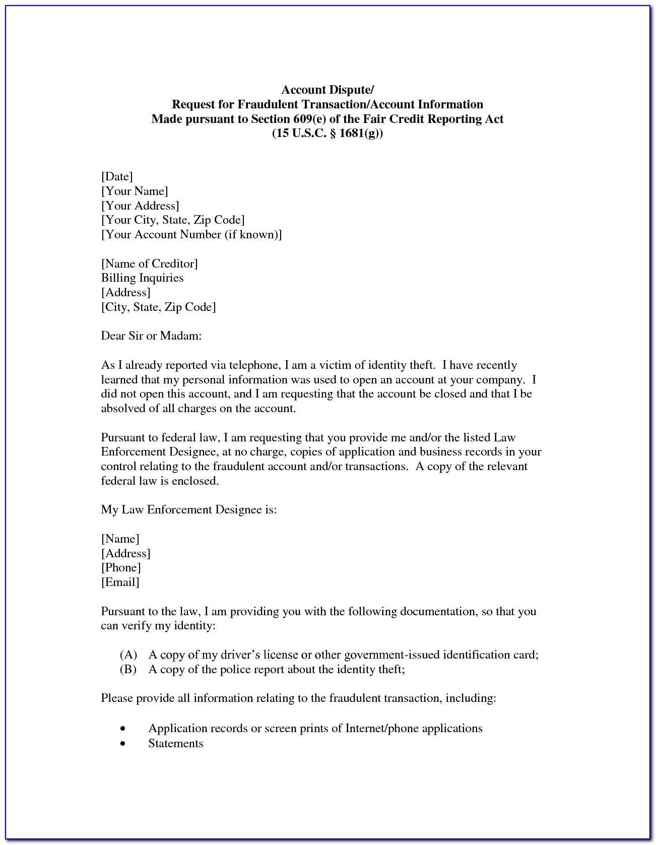 609 Dispute Letters Pdf