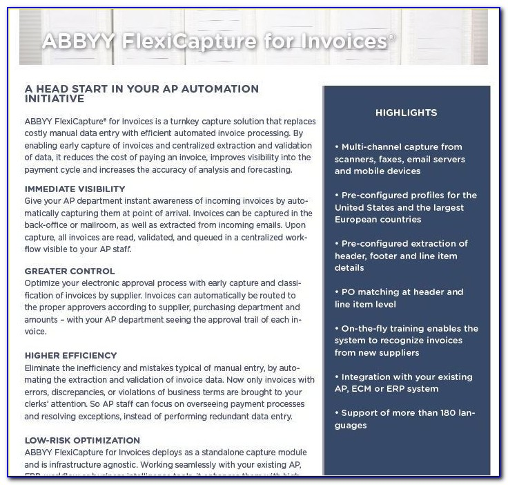 Abbyy Flexicapture For Invoices Price