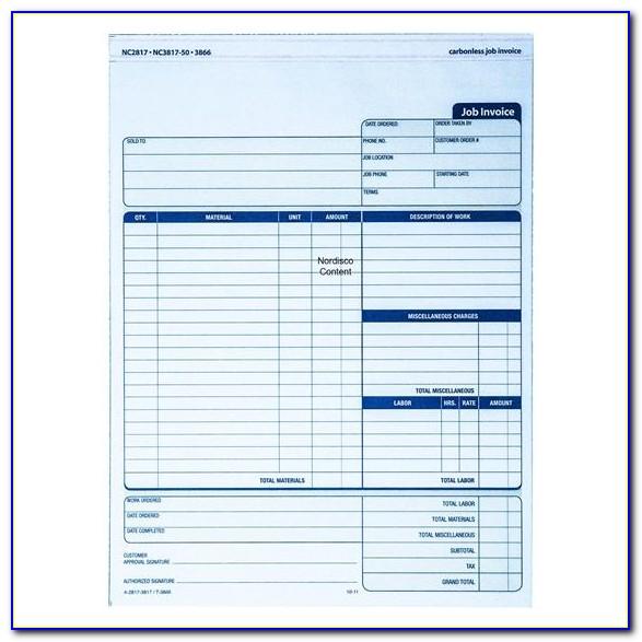 Adams Job Invoice Nc2817