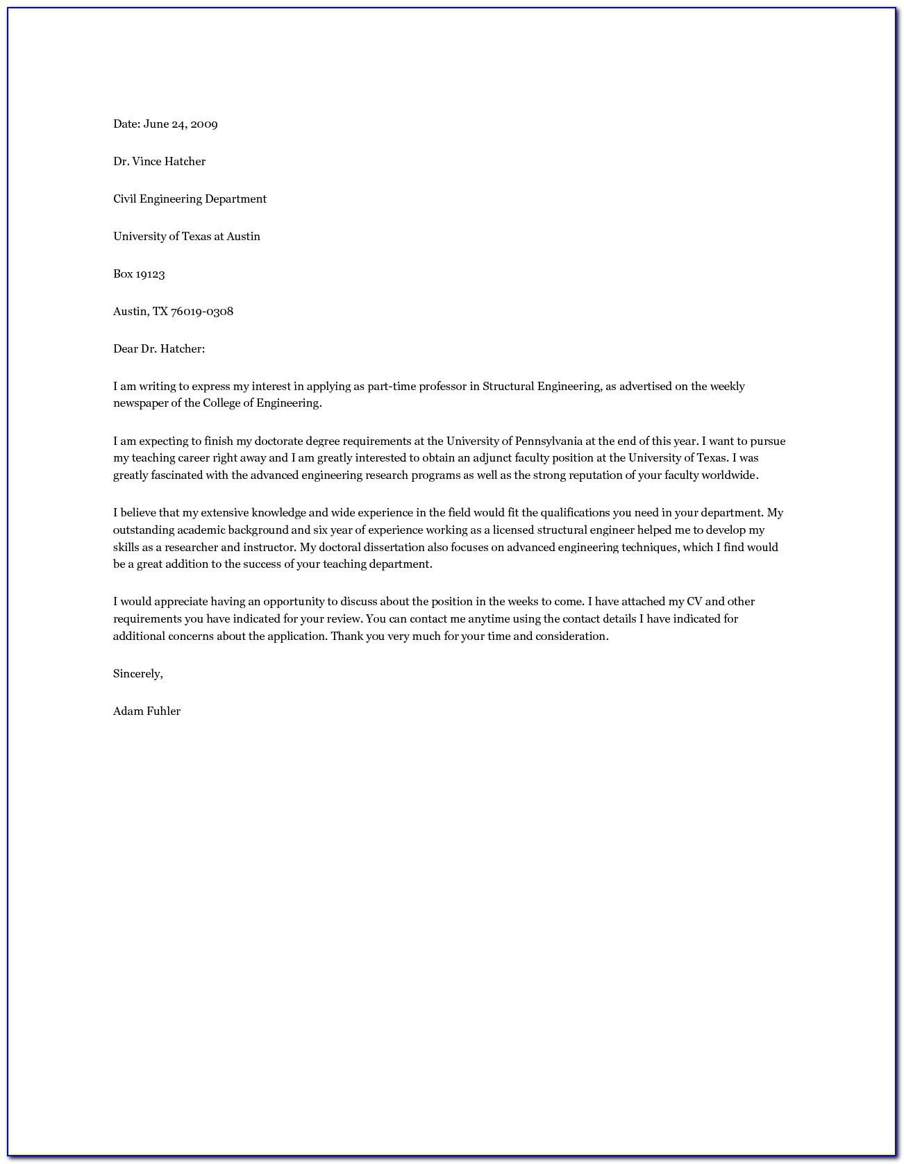 Adjunct Business Professor Cover Letter