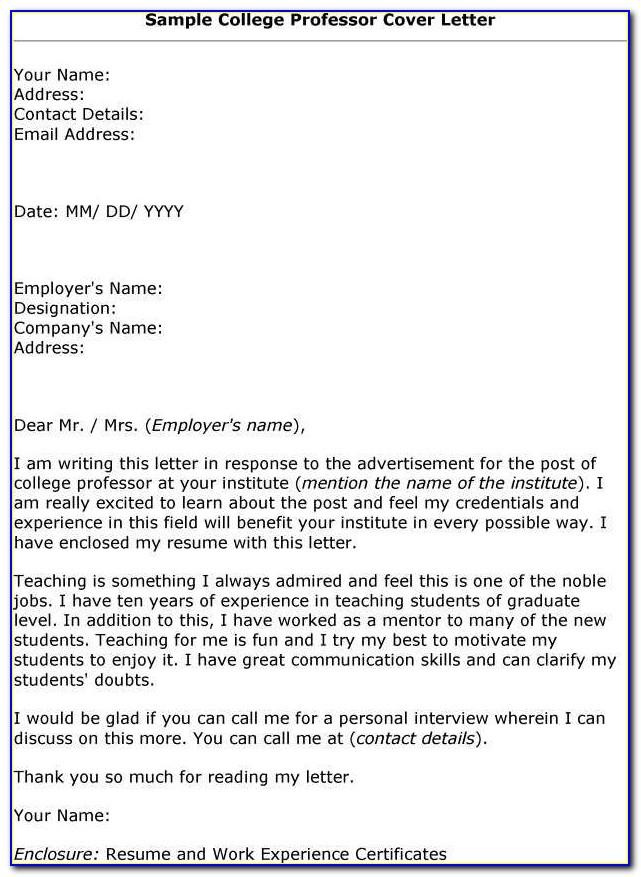 Adjunct Professor Cover Letter Template
