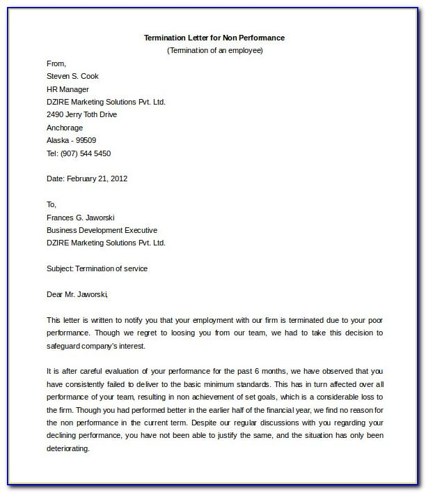 Agreement Termination Letter Sample Doc