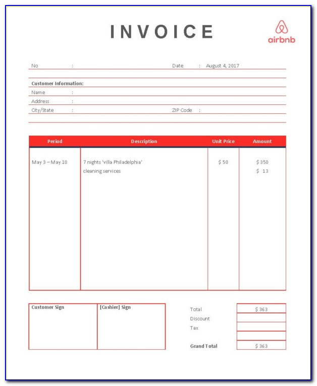 Airbnb Invoice Example