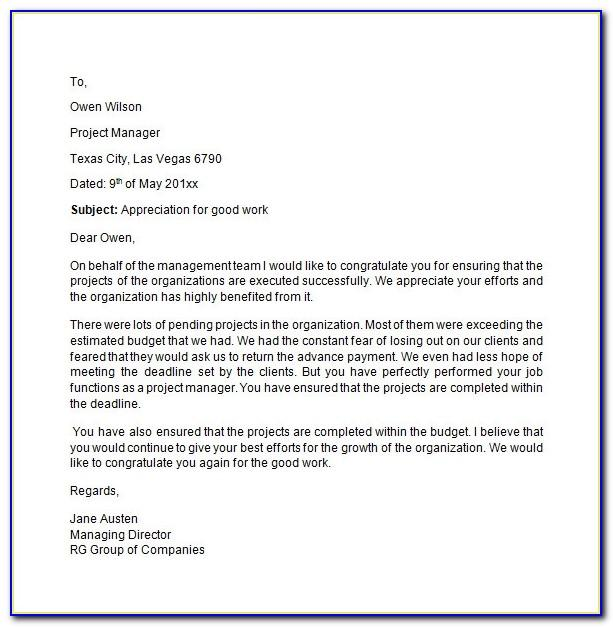 Appreciation Letter For Good Work Done