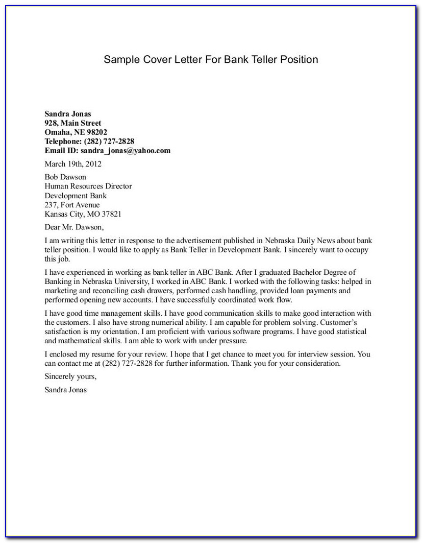 Bank Teller Cover Letter Sample