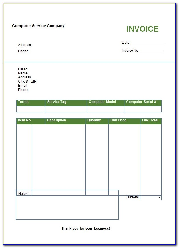 Basic Invoice Template For Microsoft Word