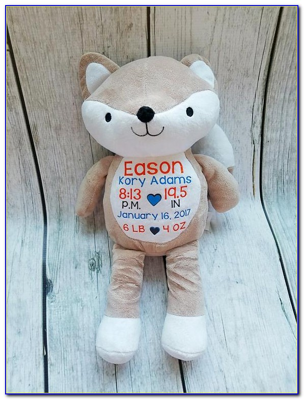 Birth Announcement Stuffed Animal Fox
